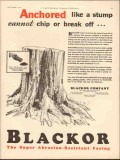Blackor Company 1930 Vintage Ad Oil Anchored Stump Cannot Chip Break