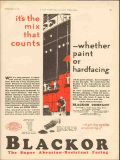 Blackor Company 1930 Vintage Ad Oil Field Mix Counts Paint Hardfacing