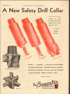 Brewster Company 1930 Vintage Ad Oil Well Bits New Safety Drill Collar