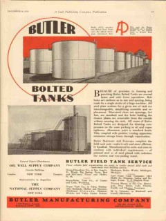 Butler Mfg Company 1930 Vintage Ad Oil Gas API Bolted Tanks Storage