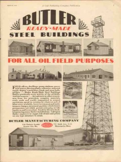 Butler Mfg Company 1930 Vintage Ad Oil Field Steel Buildings Purposes