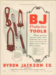 Byron Jackson Company 1930 Vintage Ad Oil Field BJ Production Tools