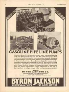 Byron Jackson Company 1930 Vintage Ad Oil Gasoline Pipe Line Pumps