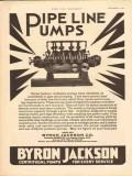 Byron Jackson Company 1930 Vintage Ad Oil Pipe Line Pumps Multiplex