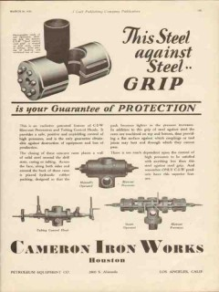 Cameron Iron Works 1930 Vintage Ad Oil Steel Grip Protection Blowout