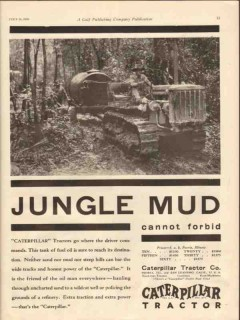 caterpillar tractor company 1930 jungle mud forbid oil vintage ad