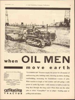 caterpillar tractor company 1930 oil men move earth power vintage ad