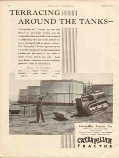 caterpillar tractor company 1930 terracing tanks oilfield vintage ad
