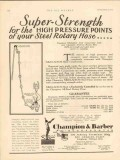 Champion Barber Inc 1930 Vintage Ad Oil Super Strength High Pressure
