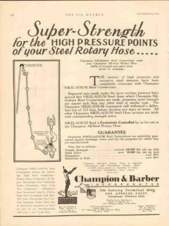 Champion Barber Inc 1930 Vintage Ad Oil Super Strength High Pressure
