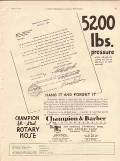 Champion Barber Inc 1930 Vintage Ad Oil Pressure Absolute Safety Hose