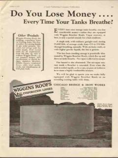 Chicago Bridge Iron Works 1930 Vintage Ad Oil Tanks Breathe Lose Money