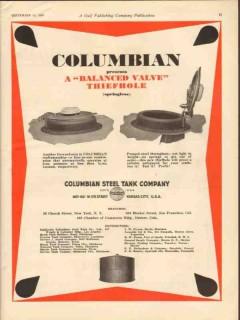 Columbian Steel Tank Company 1930 Vintage Ad Oil Balanced Valve