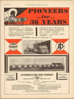 Columbian Steel Tank Company 1930 Vintage Ad Oil Pioneers Engineering
