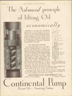 Continental Equipment Company 1930 Vintage Ad Oil Advanced Lifting