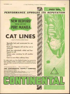 Continental Supply Company 1930 Vintage Ad Oil New Bedford Cat Lines