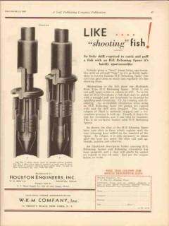 Houston Engineers Inc 1930 Vintage Ad Shooting Fish Releasing Spear