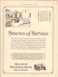 houston national bank 1930 sinews service oilfield finance vintage ad