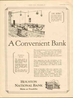 houston national bank 1930 convenient oilfield finance vintage ad