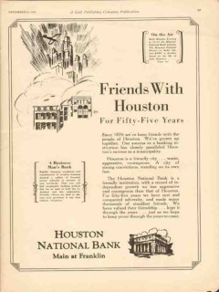 houston national bank 1930 friends years oilfield finance vintage ad