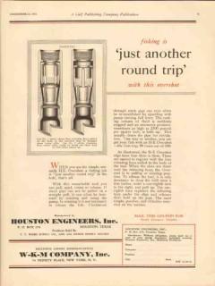 Houston Engineers Inc 1930 Vintage Ad Oil Field Fishing Round Trip