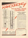 Houston Oil Field Material Company 1930 Vintage Ad Full Hole Cementer