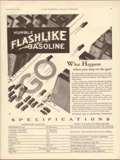 Humble Oil Refining Company 1930 Vintage Ad Gasoline Flashlike Happens