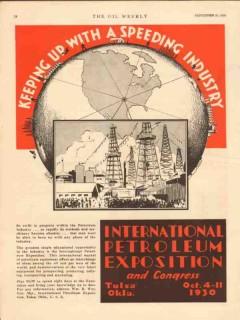 International Petroleum Exposition 1930 Vintage Ad Industry Speeding
