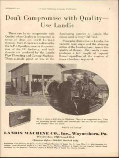 landis machine company 1930 compromise quality threading vintage ad