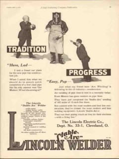 lincoln electric company 1930 arc welding oilfield pipeline vintage ad