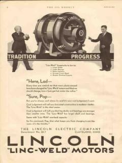 lincoln electric company 1930 linc-weld motors oilfield vintage ad