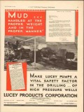 Lucey Products Corp 1930 Vintage Ad Oil Field Pumps Mud Weight Manner