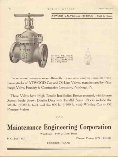 Maintenance Engineering Corp 1930 Vintage Ad Oil Gas Atwood Valves
