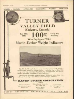 Martin-Decker Corp 1930 Vintage Ad Oil Weight Indicator Turner Valley