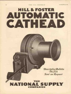 Hill Foster Company 1930 Vintage Ad Oil Automatic Cathead Oilfield