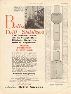 Patterson-Ballagh Corp 1930 Vintage Ad Oil Bettis Drill Stabilizers