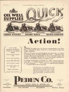 peden company 1930 oil well supplies quick action oilfield vintage ad