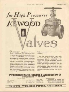 Pittsburgh Valve Foundry Construction 1930 Vintage Ad High Pressures