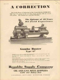 American Well Prospecting Company 1930 Vintage Ad Oil Gumbo Buster J