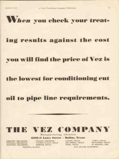 vez company 1930 lowest cost oil pipeline requirements vintage ad
