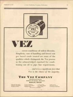 vez company 1930 conditions diversity oilfield chemicals vintage ad