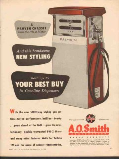 a o smith corp 1955 smithway pm2 meter gasoline dispenser vintage ad