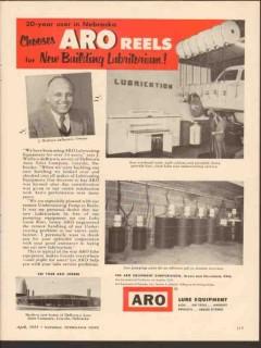 ARO Equipment Corp 1955 Vintage Ad Lube J Wallace DeBrown Auto Sales