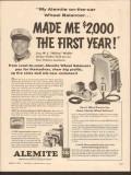 alemite 1955 mickey walker shell new orleans wheel balancer vintage ad