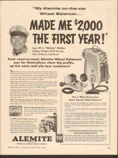 alemite 1955 mickey walker shell new orleans wheel balancer vintage ad