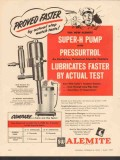 Alemite 1955 Vintage Ad Proved Faster Super-H Pump Grease Lubricates