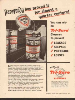 american flange mfg company 1955 paragon oil proved closure vintage ad