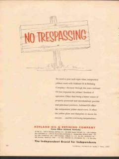 Ashland Oil Refining Company 1955 Vintage Ad No Trespassing Jobbers