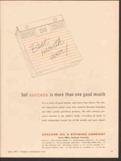 Ashland Oil Refining Company 1955 Vintage Ad Best Month Jobber Success