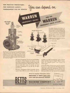 betts machine company 1955 depend on emergency valve system vintage ad